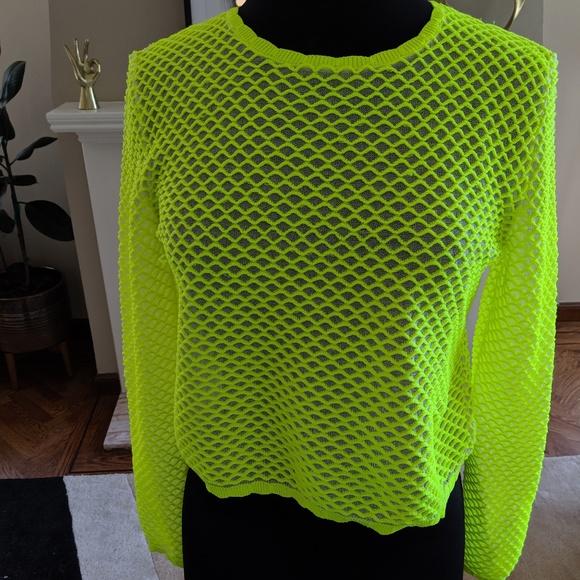 7861ee51 Zara Sweaters   Neon Mesh Rocker Top   Poshmark